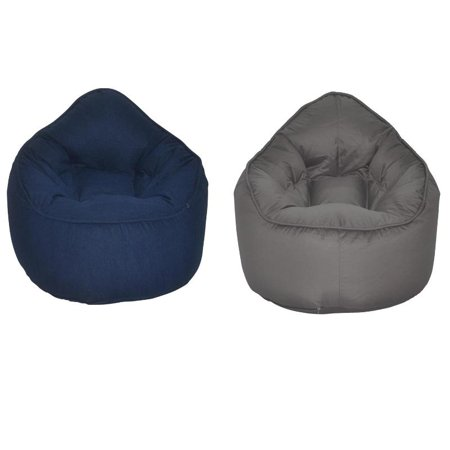 (Set of 2) Modern Bean Bag Chair in Jean and Grey - image 7 of 7
