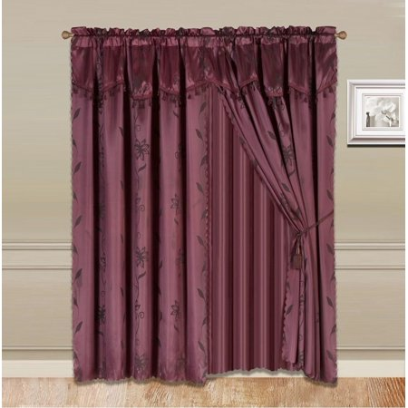 8-Piece BURGUNDY Nada Luxury Faux Jacquard Floral Design Panel, Rod Pocket Window Curtain Set Attached Valance, Panel, And Sheer- Includes 2 Tie Backs