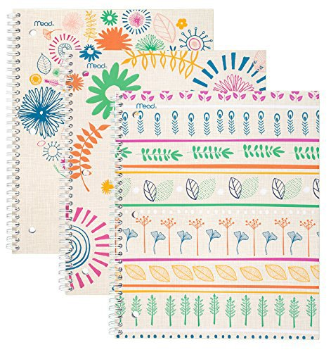 "Mead Spiral Notebooks, 1 Subject, College Ruled, 10-1/2"" x 8"", Botanical Boutique, Assorted Designs, 3 Pack (73831)"
