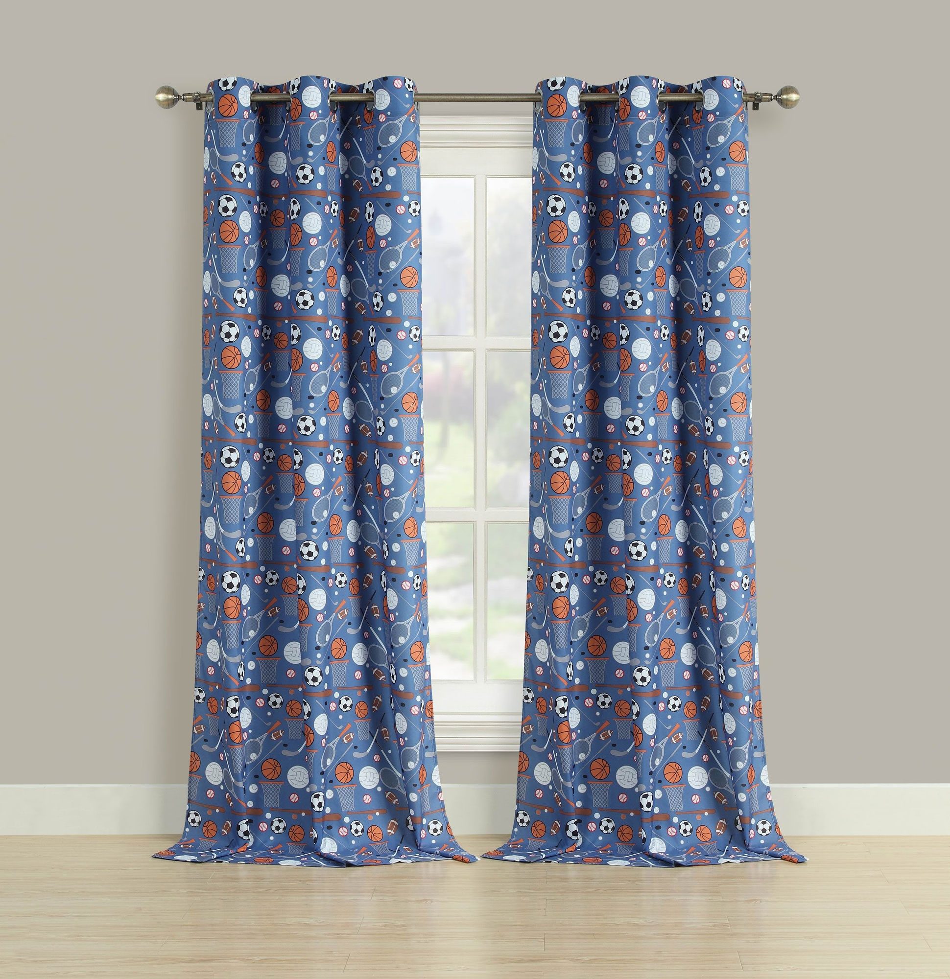 2 Room Darkening Window Curtains Grommet Boys Blue Sports Panel Pair Drapes Thermal 84""