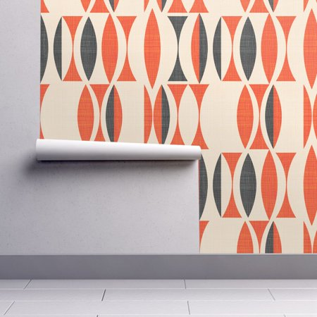 Removable Water-Activated Wallpaper Vintage Geo Vintage Orange And Black Geo