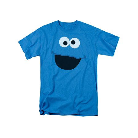 Sesame Street Kid's TV Show Cookie Monster Face Outline Adult T-Shirt Tee - Sesame Street For Adults