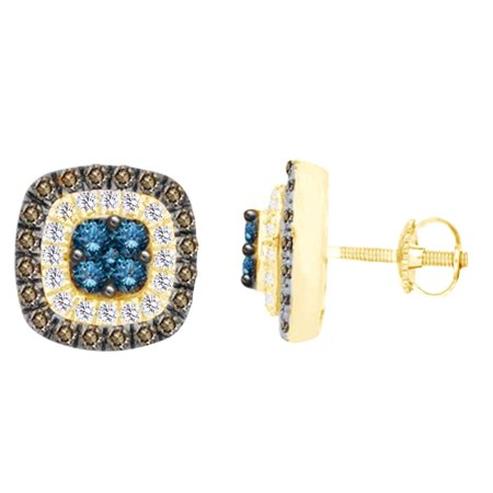 Gold Champagne Diamond Earrings - (1 cttw) Round Cut White,Blue & Champagne Diamond Square Stud Earrings In 10k Yellow Gold