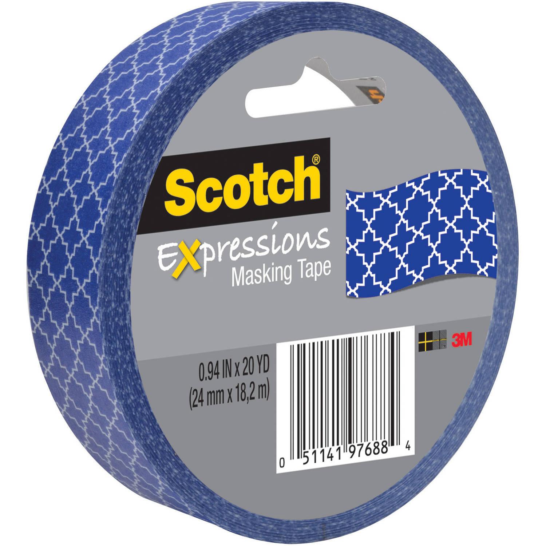 "Scotch Expressions Masking Tape, .94"" x 20 yds, Blue Quatrefoil"