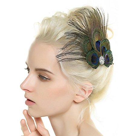 Nero Women's Handmade Peacock Feather Fascinator Headpiece, Fascinator Headband for Fancy Party - image 2 de 3