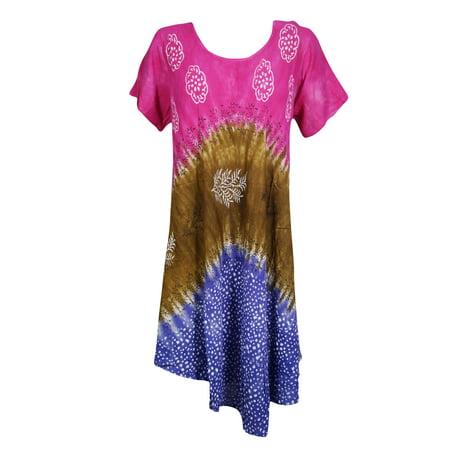 Mogul Womens Sundress Tie Dye Cap Sleeves Summer Style Loose Swing Flowy Cover Up Printed Tank Dress 2XL](Casual Flowy Dresses)