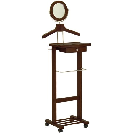Valet Stand With Drawer On Casters  Antique Walnut