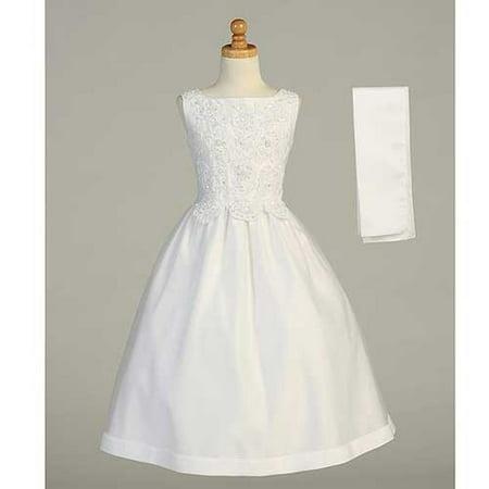 White Beaded Tea Length First Communion Dress Shawl Girls 7-20.5 (Tea Length First Communion Dresses)