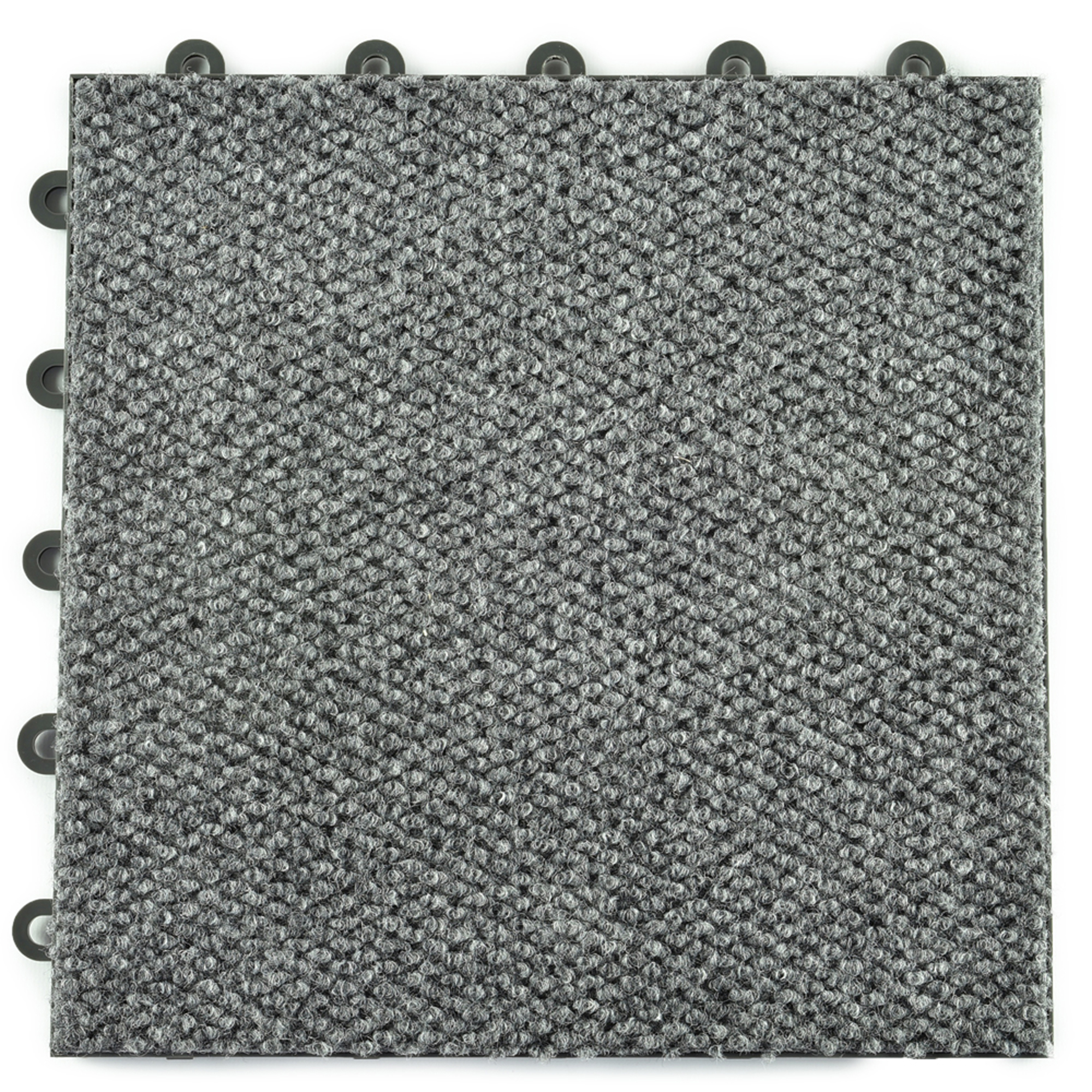 Greatmats Snap Together Raised Carpet Tile 12-1/8 in. x 12-1/8 in. x 5/8 in. Gray 20 Pack
