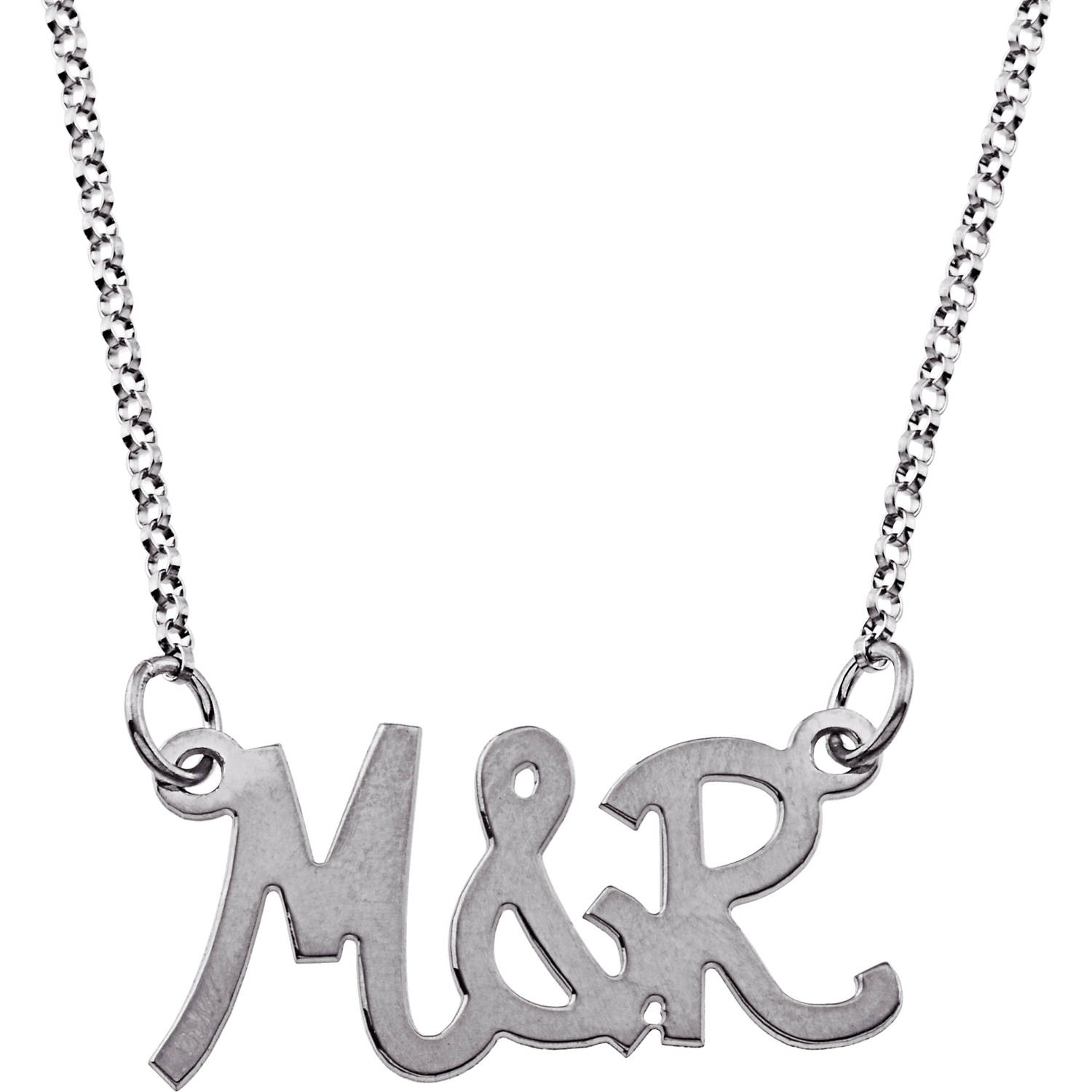 Personalized Couple's Sterling Silver Uppercase Initial Necklace
