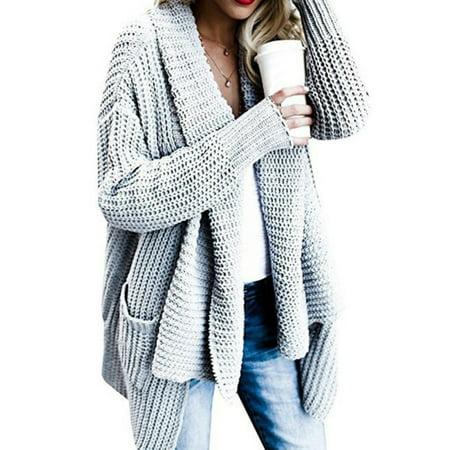 ba6ac02c0703 Ropalia - Ropalia Women Solid Color Long Sleeve Knit Sweater ...