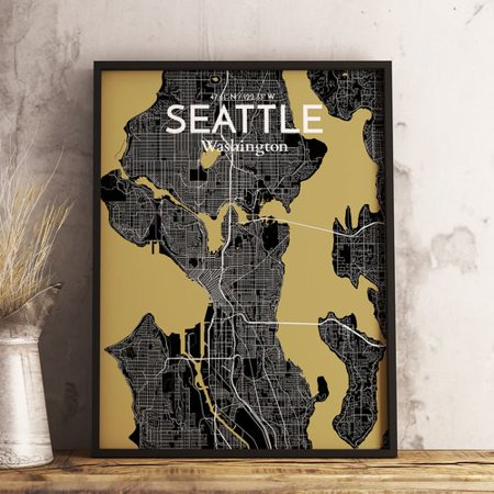 Wrought Studio Seattle City Map Graphic Art Print Poster In Luxe