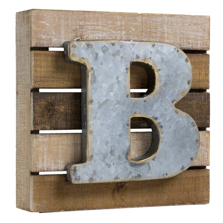 Metal Letter (Crystal Art Gallery American Art Decor Metal on Wood Rustic Letter Block