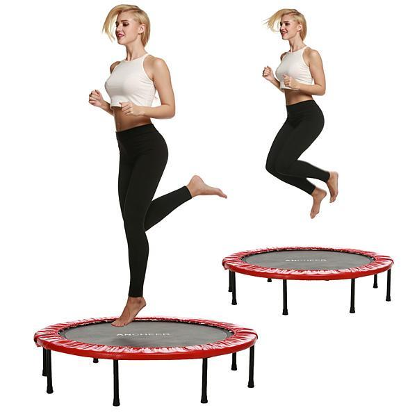 "38"" Folding Trampoline Aerobic Home Workout Fitness Rebounder with Safety Pad HFON"