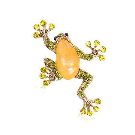 US Lime Green Stylish Rhinestone Acrylic Frog Toad Amphibian Costume Pin Brooch