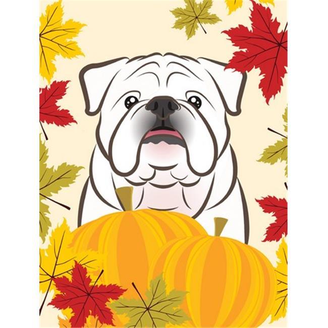White English Bulldog Thanksgiving Flag Garden