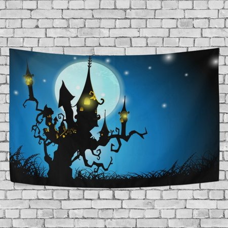 Halloween Living Room Decor (MYPOP Halloween Night Haunted House Tapestry Wall Hanging Decoration Home Decor Living Room Dorm 60x51)
