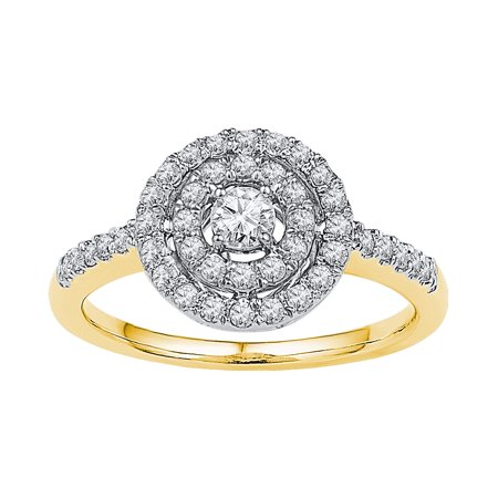 Size - 7 - Solid 10k White and Yellow Two Toned Gold Round White Diamond Engagement Ring OR Fashion Band Prong Set Solitaire Shaped Flower Ring (1/2 cttw)