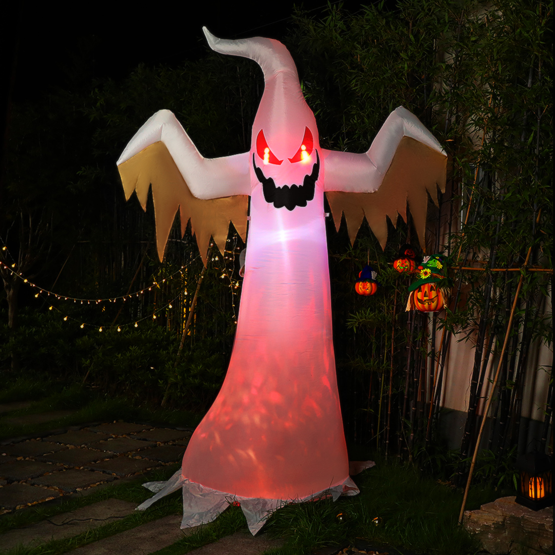 Halloween Inflatable White Ghost with Red Rotating Led Lights Blow up Outdoor Yard Decoration 8ft - Walmart.com