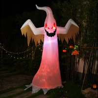 Sinowell 8ft Halloween Inflatable White Ghost with Red Rotating Led Lights