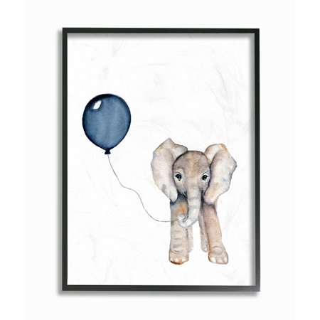 Oversized Balloons (The Kids Room by Stupell Baby Elephant with Blue Balloon Oversized Framed Giclee Texturized Art, 16 x 1.5 x)