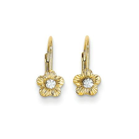 - Kids 14k Yellow Gold & CZ 5mm Flower Lever Back Earrings