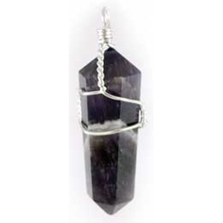 Amethyst Purple Crystal Point Wrapped In Wire Pendant Inspire Peace Hope Love and Happiness