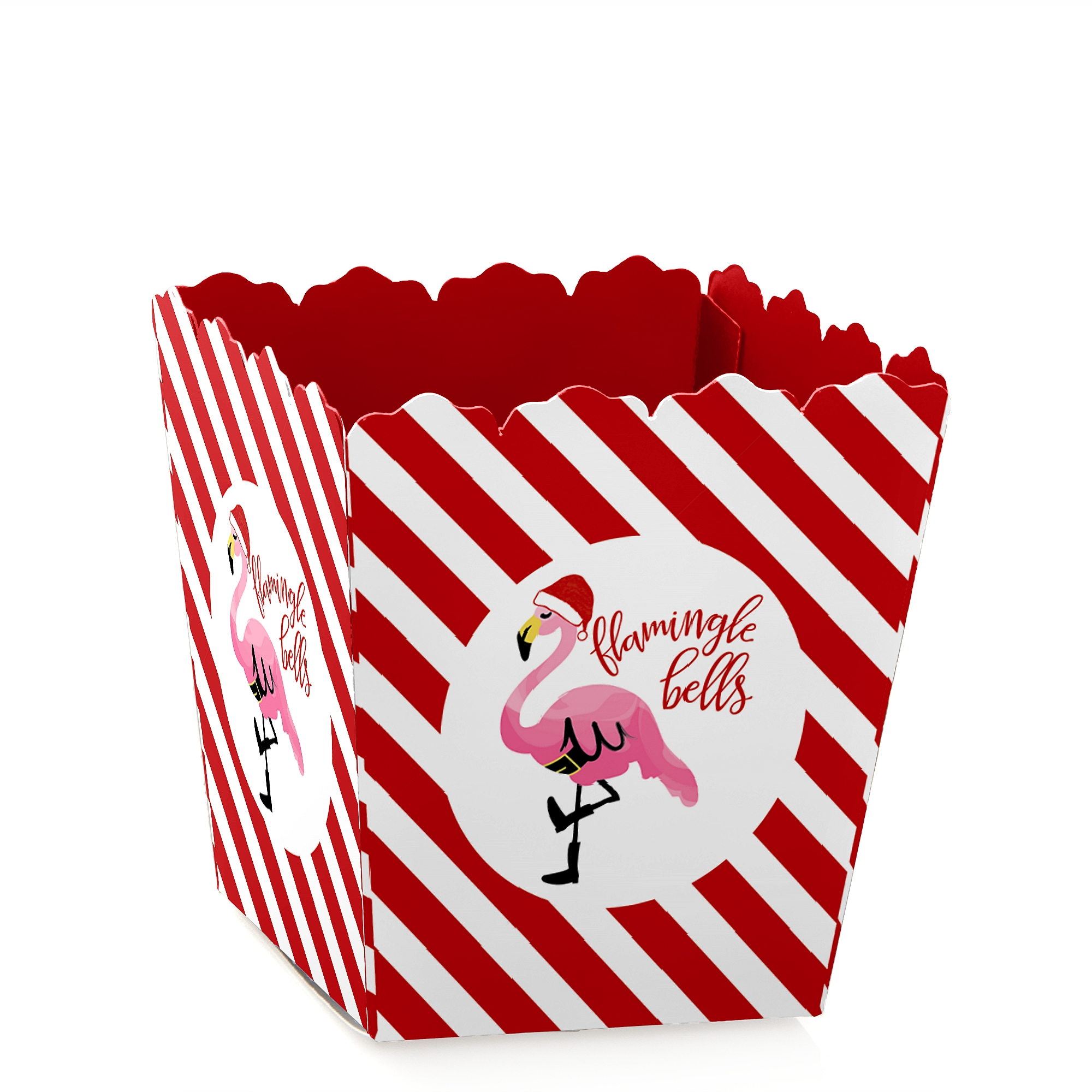 Flamingle Bells - Party Mini Favor Boxes - Tropical Flamingle Christmas Party Treat Candy Boxes - Set of 12