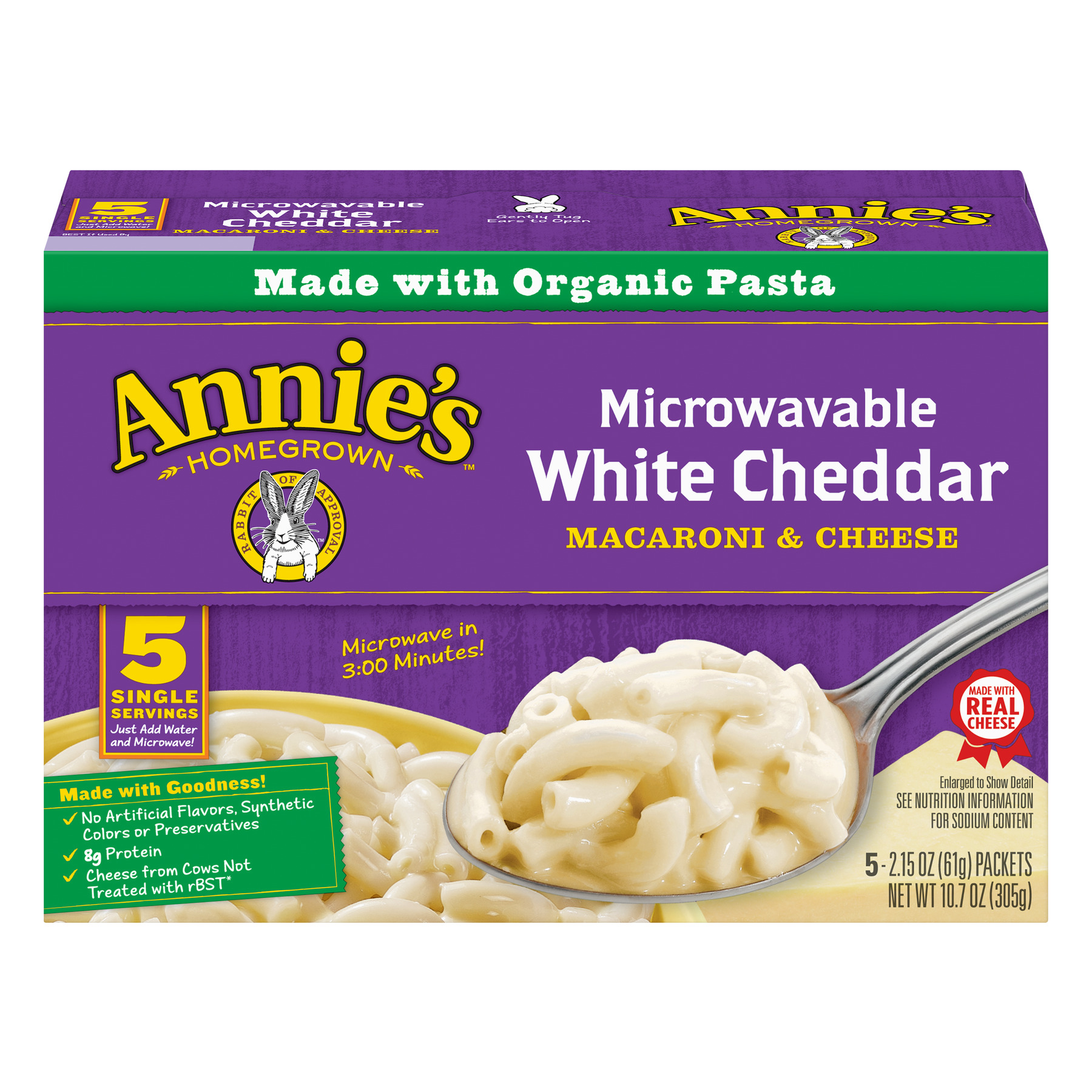 Annie's Macaroni & Cheese, White Cheddar Microwavable Mac and Cheese, 5 Packets, 2.15 oz Each