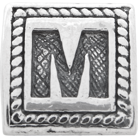 925 Sterling Silver Charm For Bracelet Letter M Triangle Block Bead Alphabet Fine Jewelry For Women Valentines Day Gifts For Her - image 3 de 8