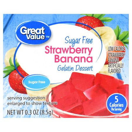 Jello Pudding Halloween Desserts ((3 Pack) Great Value Sugar Free Gelatin Dessert, Strawberry Banana, 0.3)