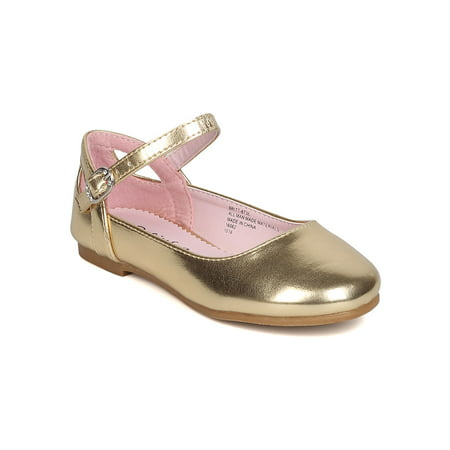 Gold Ballet Flats Toddler (Little Angel GB40 Girls Metallic Leatherette Ankle Strap Cut Out Ballet Flat (Toddler Girl / Little Girl / Big)