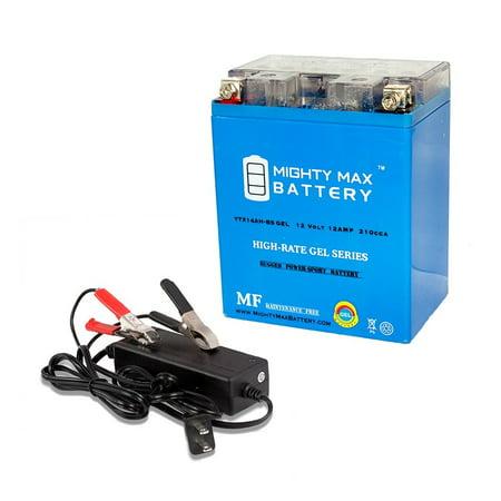 - YTX14AH GEL Battery for Yamaha 225 YFM225 Moto 4 + 12V 2Amp Charger