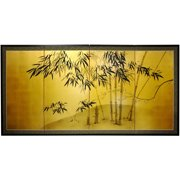 """Oriental Furniture Gold Leaf Bamboo Wall art, Wall hanging, wall dcor, 18""""H, Bamboo pattern on silk"""