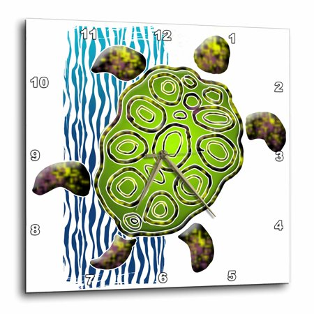 3dRose Illustration with Sea Turtle, Wall Clock, 15 by