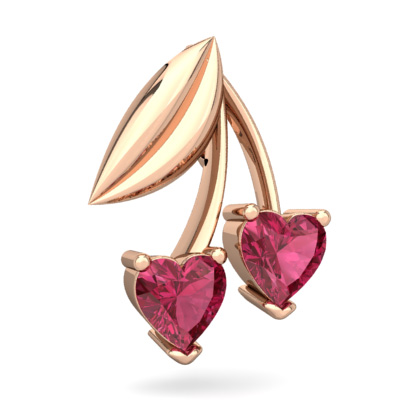 Pink Tourmaline Cherry Hearts Pendant in 14K Rose Gold by
