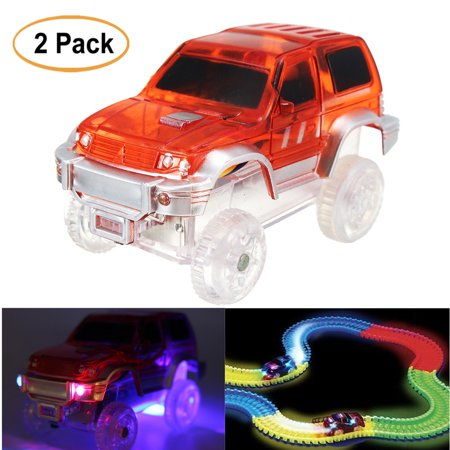 2 Pack LED Light Up Mini Car Toys for Magic Tracks Electronics Flashing Lights Car Toys Kids Gift
