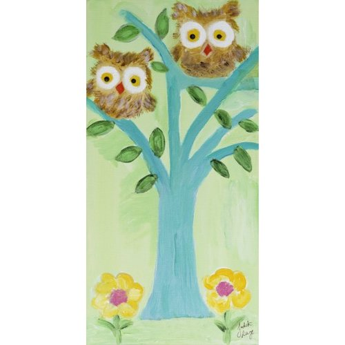 Judith Raye Paintings LLC Two Fuzzy Owls by Judith Raye Painting Print