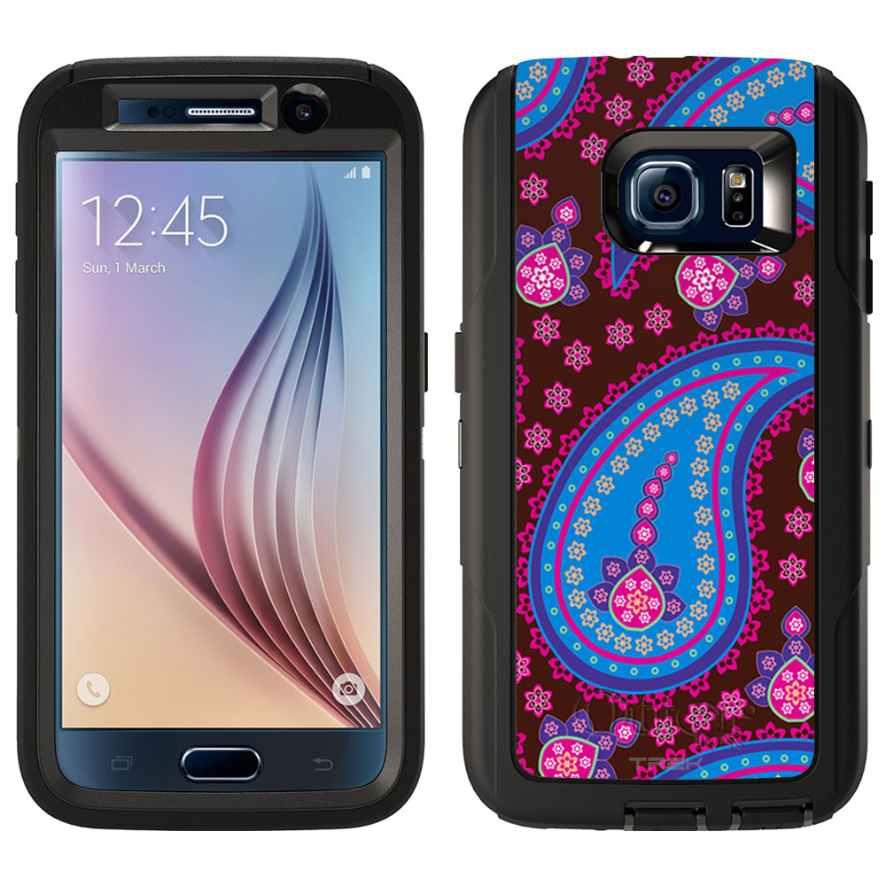 SKIN DECAL FOR Otterbox Defender Samsung Galaxy S6 Case - Fun Paisley Blue Pink on Brown DECAL, NOT A CASE