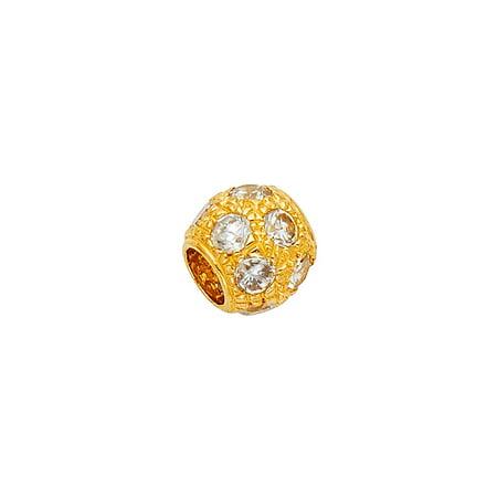 CZ Bead Charm Pendant Solid 14k Yellow Gold Ball Round Sphere Diamond Cut Polished Finish Fancy