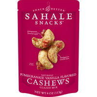 Sahale Snacks Naturally Pomegranate Vanilla Flavored Cashews Glazed Mix, Gluten-Free Snack, 4-Ounce Bag
