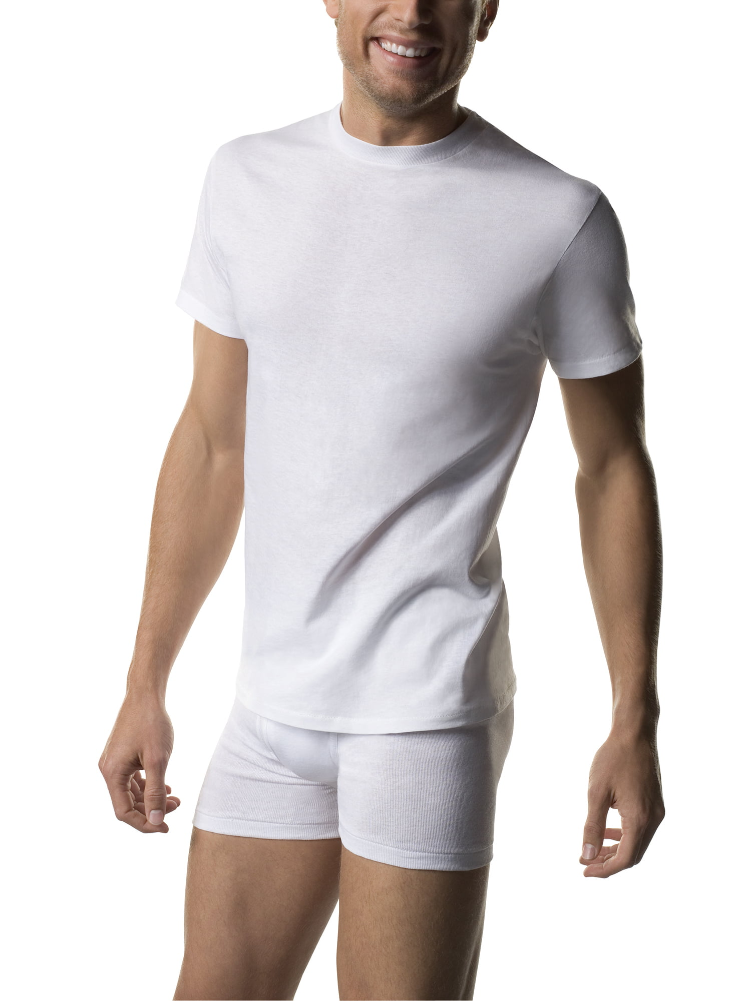 e7987b96 Hanes - Big Men's FreshIQ ComfortSoft White Crew Neck T-Shirt 5-Pack -  Walmart.com