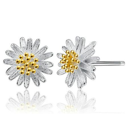 Outtop 1Pair Women Daisy Flower Earrings Ear Stud Jewelry