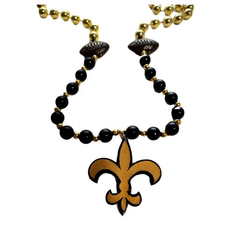 Fleur De Lis Black Gold with Football Mardi Gras Beads Party Favor](Black And Gold Mardi Gras Beads)