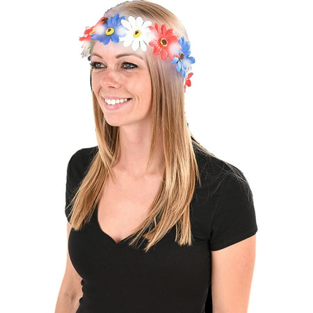 Independence Day Light Up 4th Of July Flower Headband Costume Accessory (4th Of July Costumes For Women)