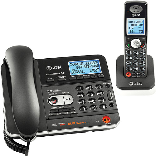 AT&T 5.8D Corded/Cordless Phone Bundle with Caller ID and Answering System