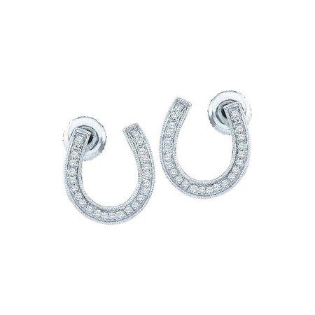 10K White Gold Diamond Horseshoe Lucky Screwback Stud Earrings 1/6 Ctw