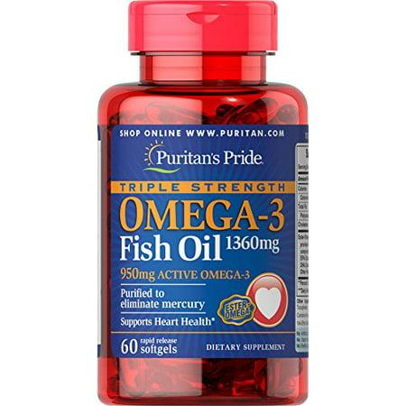 Puritan's Pride Triple Strength Omega-3 Fish Oil 1360 mg (950 mg Active Omega-3)-60 Softgels ()