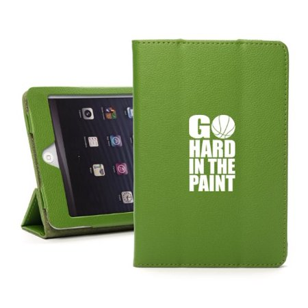 For Apple iPad Mini 4 Green Leather Magnetic Smart Case Cover Stand GO HARD In the Paint Basketball