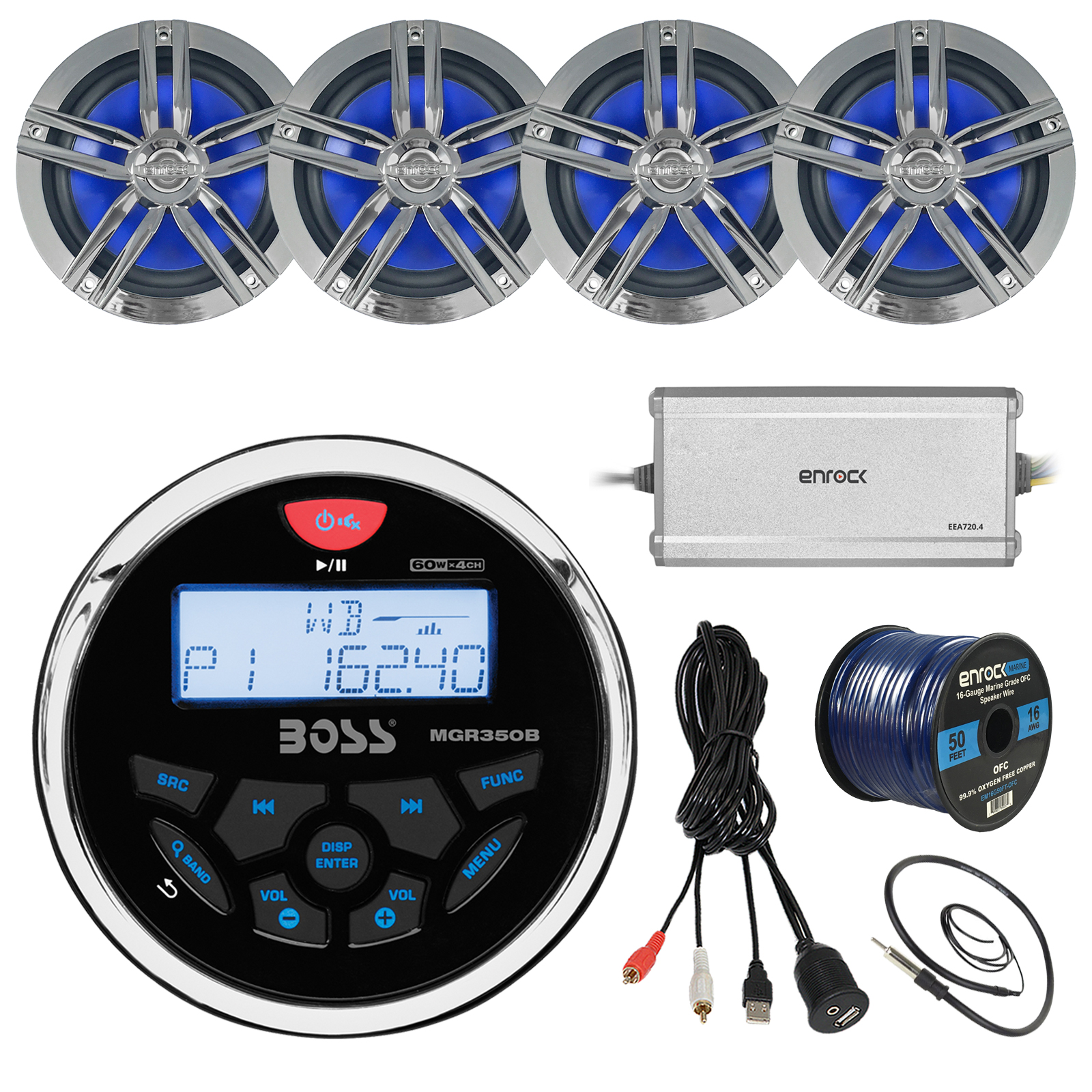 """21' - 29' Pontoon Boat Marine System: Boss Bluetooth Receiver, 4 x 6.5"""" Water-Resistant Speakers (Charcoal), 4-Channel Amplifier, 50Ft Speaker Wire, Radio Antenna - 22"""", USB Aux Interface Mount"""